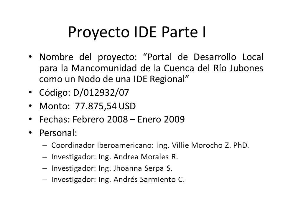 Proyecto IDE Parte I Nombre del proyecto: Portal de Desarrollo Local para la Mancomunidad de la Cuenca del Río Jubones como un Nodo de una IDE Regiona