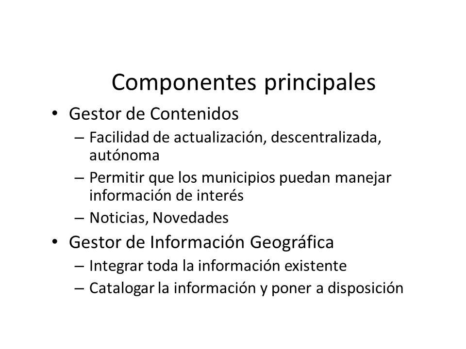 Componentes principales Gestor de Contenidos – Facilidad de actualización, descentralizada, autónoma – Permitir que los municipios puedan manejar info