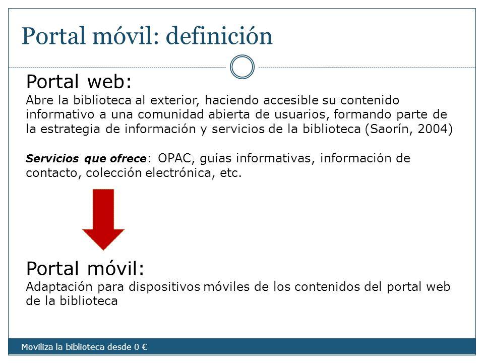 Portal móvil: definición Portal móvil: Adaptación para dispositivos móviles de los contenidos del portal web de la biblioteca Portal web: Abre la bibl