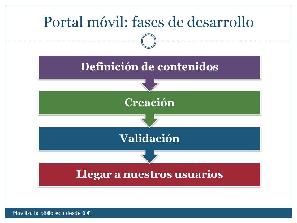 Portal móvil: fases de desarrollo Llegar a nuestros usuarios Validación Creación Definición de contenidos Moviliza la biblioteca desde 0