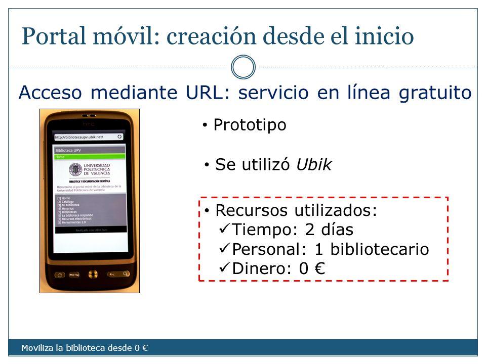 Portal móvil: creación desde el inicio Acceso mediante URL: servicio en línea gratuito Moviliza la biblioteca desde 0 Prototipo Se utilizó Ubik Recurs
