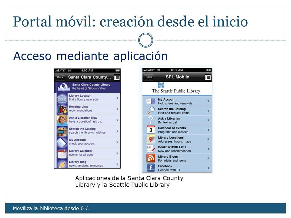 Portal móvil: creación desde el inicio Aplicaciones de la Santa Clara County Library y la Seattle Public Library Acceso mediante aplicación Moviliza l