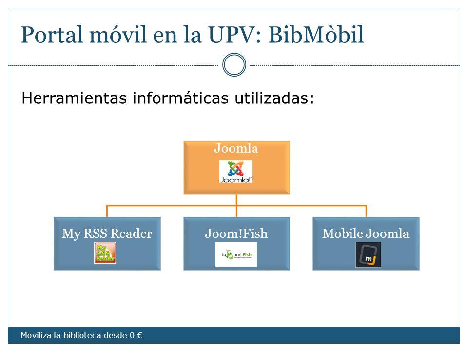Portal móvil en la UPV: BibMòbil Moviliza la biblioteca desde 0 Joomla My RSS ReaderJoom!FishMobile Joomla Herramientas informáticas utilizadas: