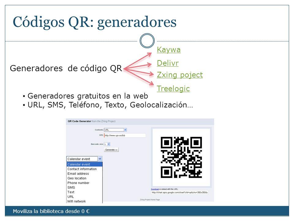 Códigos QR: generadores Generadores de código QR Zxing poject Kaywa Delivr Treelogic Generadores gratuitos en la web URL, SMS, Teléfono, Texto, Geoloc