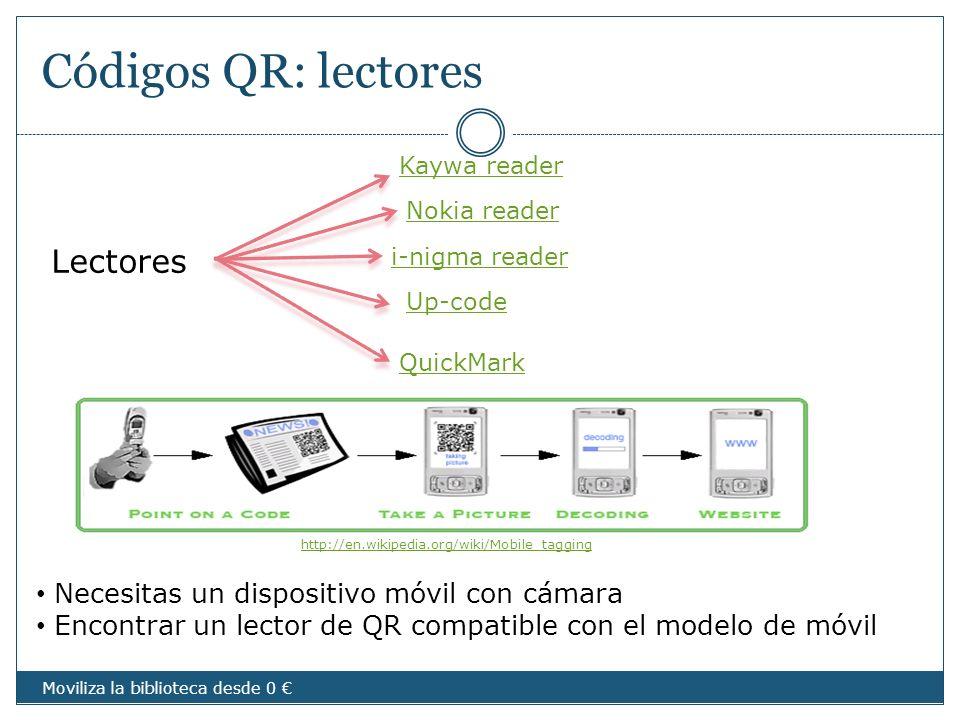 Códigos QR: lectores Necesitas un dispositivo móvil con cámara Encontrar un lector de QR compatible con el modelo de móvil Lectores Kaywa reader Nokia