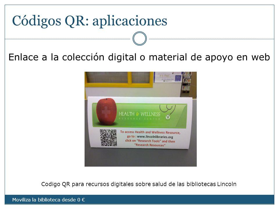 Códigos QR: aplicaciones Enlace a la colección digital o material de apoyo en web Codigo QR para recursos digitales sobre salud de las bibliotecas Lin