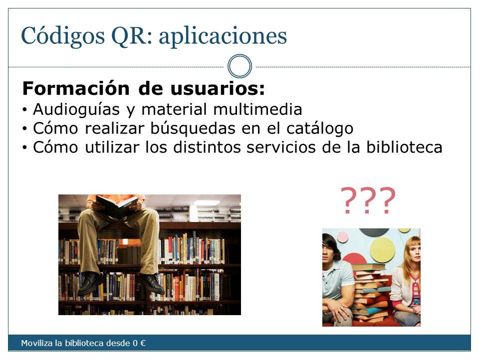 Códigos QR: aplicaciones Formación de usuarios: Audioguías y material multimedia Cómo realizar búsquedas en el catálogo Cómo utilizar los distintos se