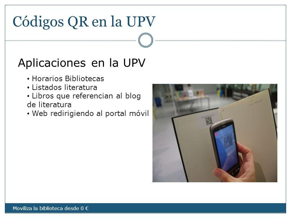 Códigos QR en la UPV Aplicaciones en la UPV Horarios Bibliotecas Listados literatura Libros que referencian al blog de literatura Web redirigiendo al