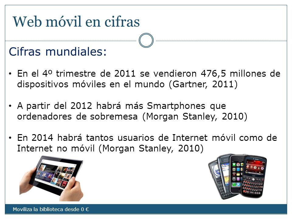 Web móvil en cifras Cifras mundiales: En el 4º trimestre de 2011 se vendieron 476,5 millones de dispositivos móviles en el mundo (Gartner, 2011) A par