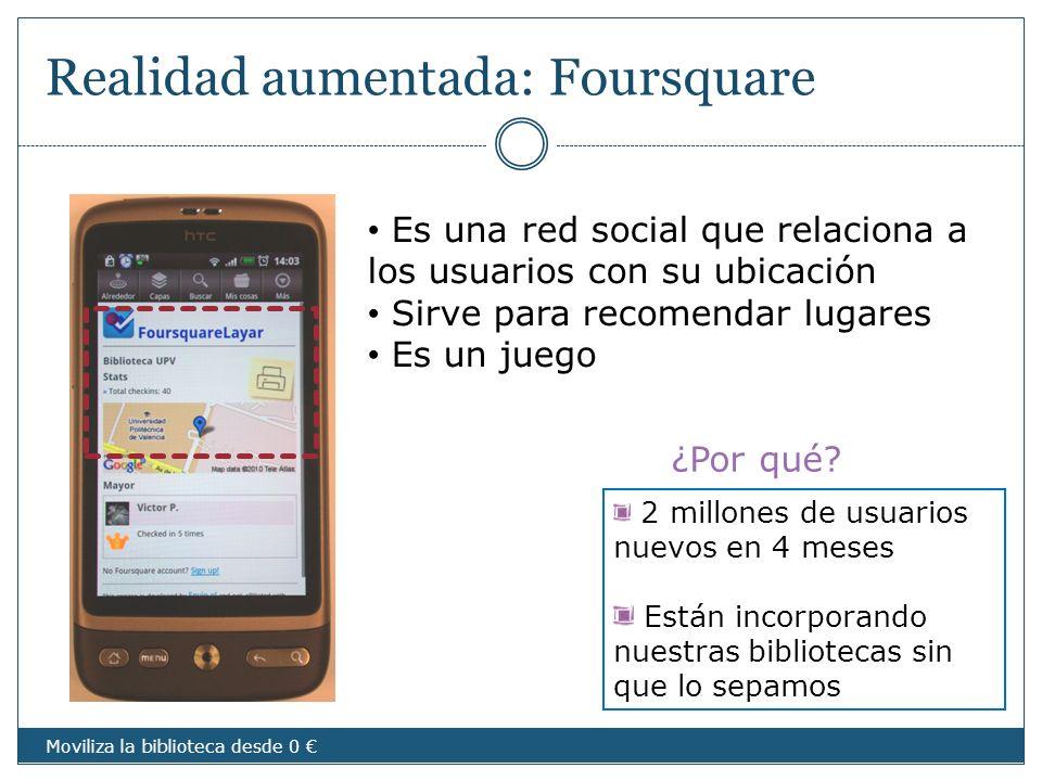 ¿Por qué? Realidad aumentada: Foursquare Es una red social que relaciona a los usuarios con su ubicación Sirve para recomendar lugares Es un juego 2 m