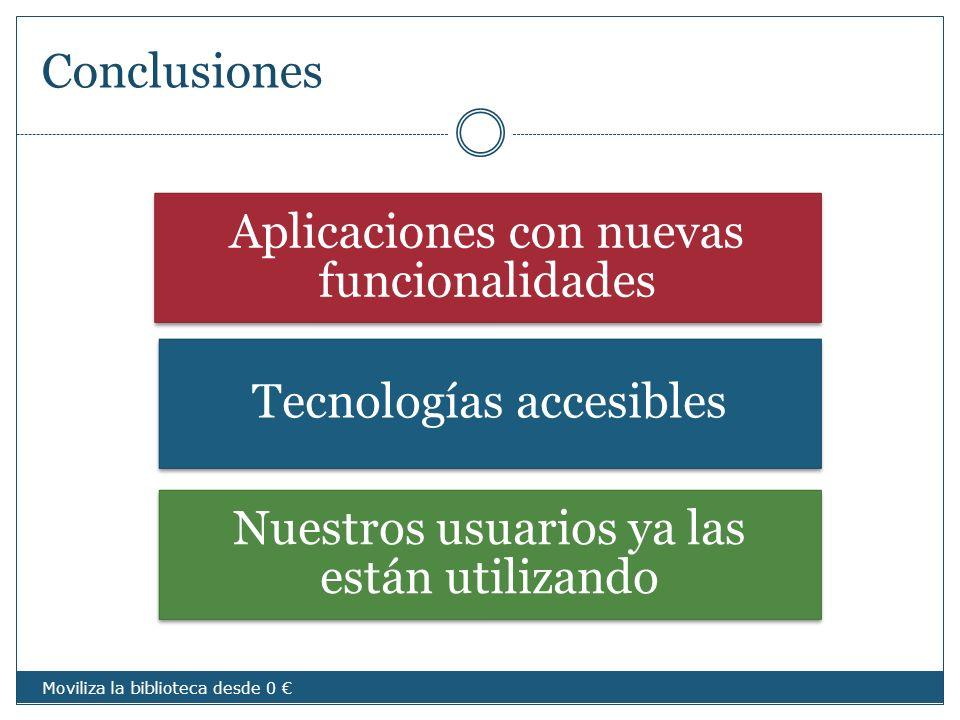Conclusiones Aplicaciones con nuevas funcionalidades Tecnologías accesibles Nuestros usuarios ya las están utilizando Moviliza la biblioteca desde 0