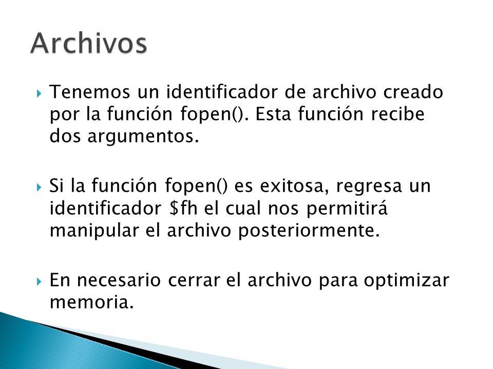 Tenemos un identificador de archivo creado por la función fopen(). Esta función recibe dos argumentos. Si la función fopen() es exitosa, regresa un id