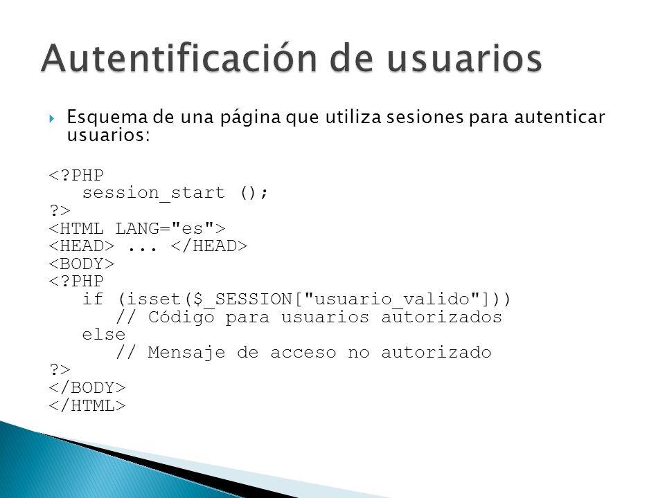 Esquema de una página que utiliza sesiones para autenticar usuarios: <?PHP session_start (); ?>... <?PHP if (isset($_SESSION[