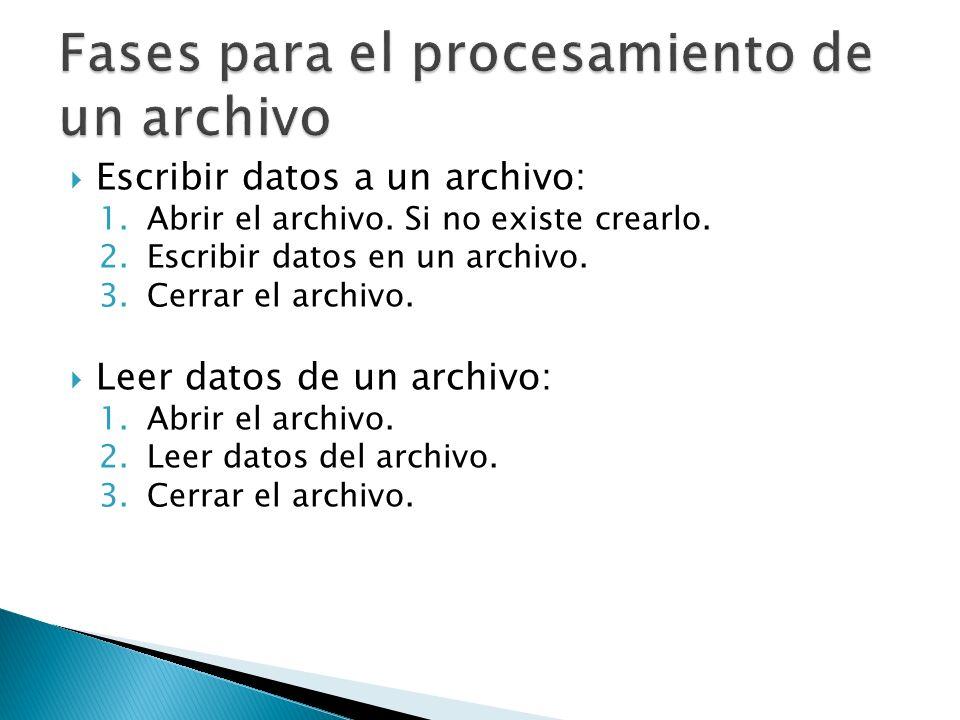 Escribir datos a un archivo: 1.Abrir el archivo. Si no existe crearlo. 2.Escribir datos en un archivo. 3.Cerrar el archivo. Leer datos de un archivo:
