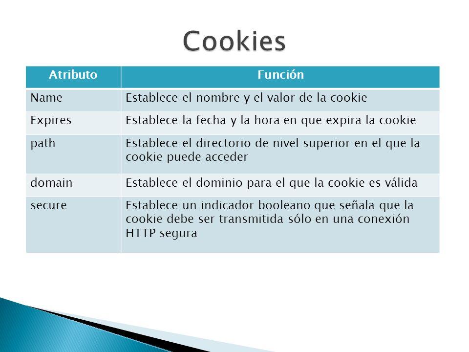 AtributoFunción NameEstablece el nombre y el valor de la cookie ExpiresEstablece la fecha y la hora en que expira la cookie pathEstablece el directorio de nivel superior en el que la cookie puede acceder domainEstablece el dominio para el que la cookie es válida secureEstablece un indicador booleano que señala que la cookie debe ser transmitida sólo en una conexión HTTP segura