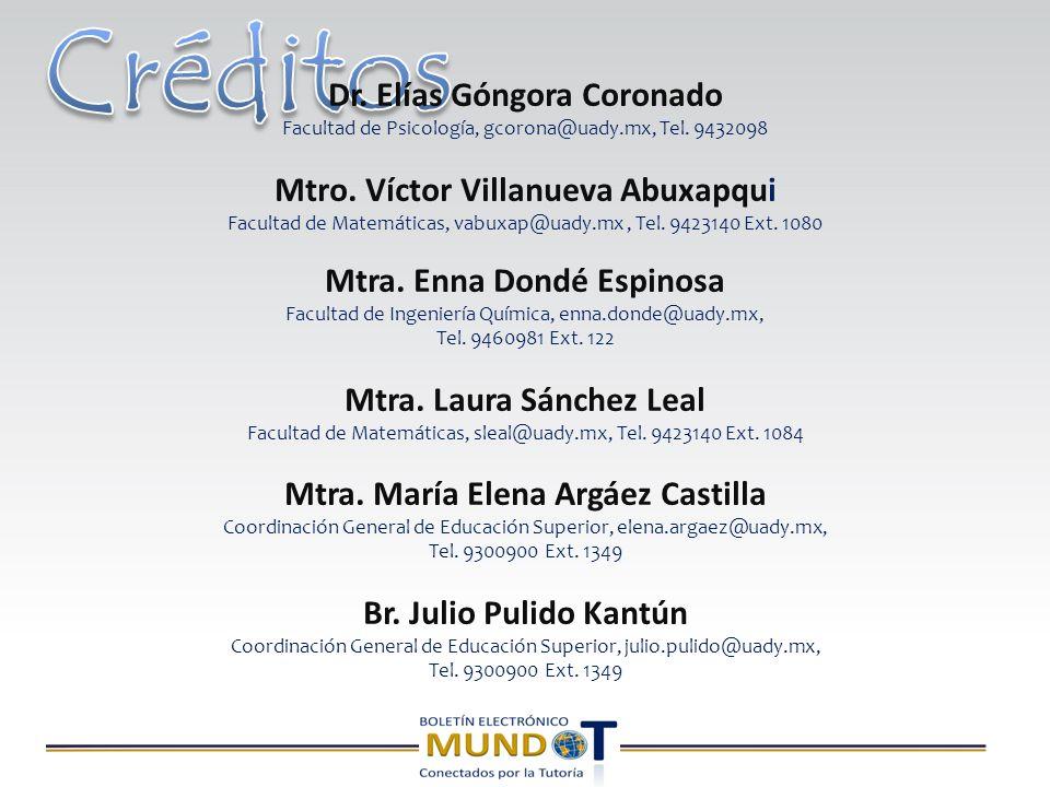 Dr. Elías Góngora Coronado Facultad de Psicología, gcorona@uady.mx, Tel.