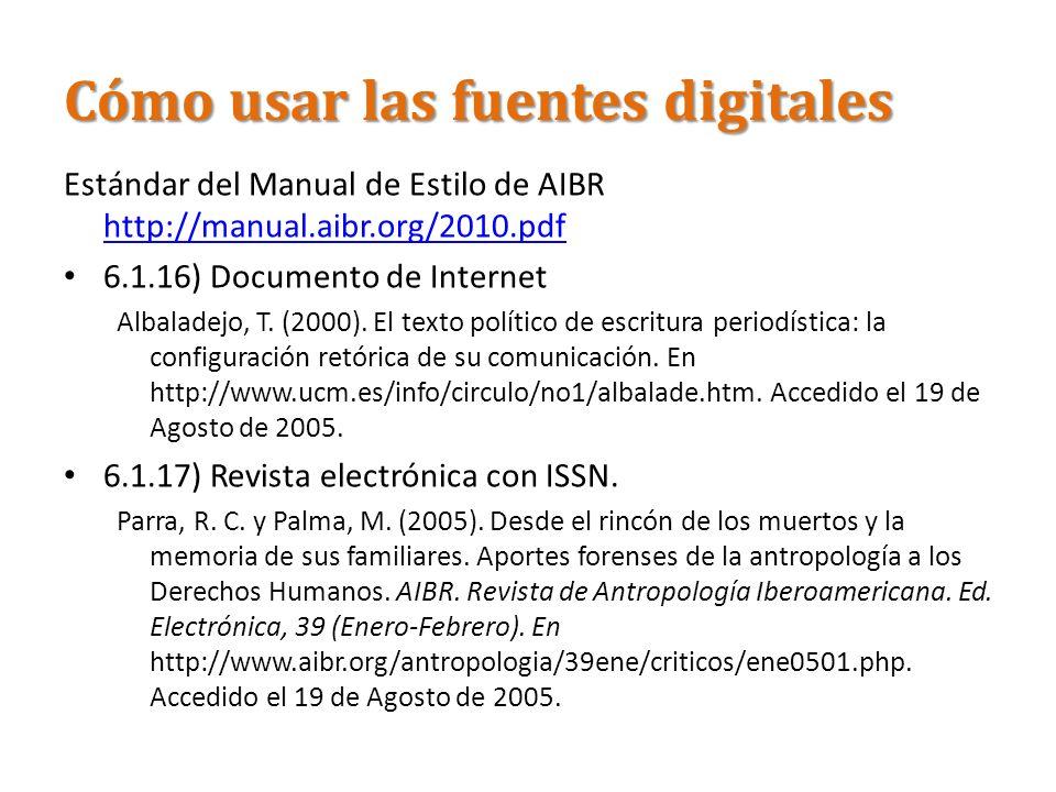 Cómo usar las fuentes digitales Estándar del Manual de Estilo de AIBR http://manual.aibr.org/2010.pdf http://manual.aibr.org/2010.pdf 6.1.16) Document