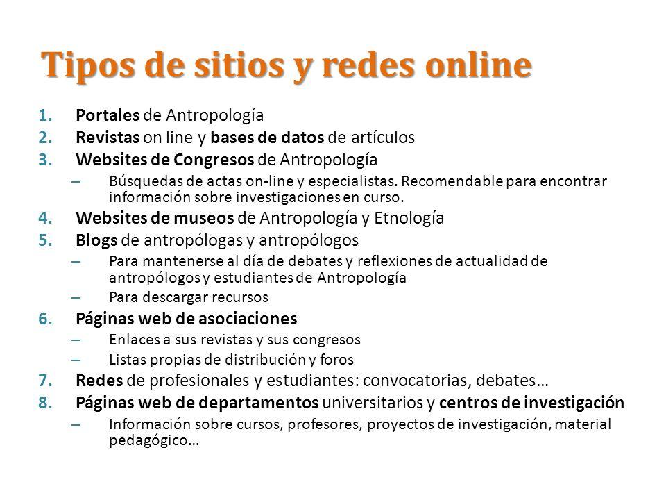 Tipos de sitios y redes online 1.Portales de Antropología 2.Revistas on line y bases de datos de artículos 3.Websites de Congresos de Antropología – B