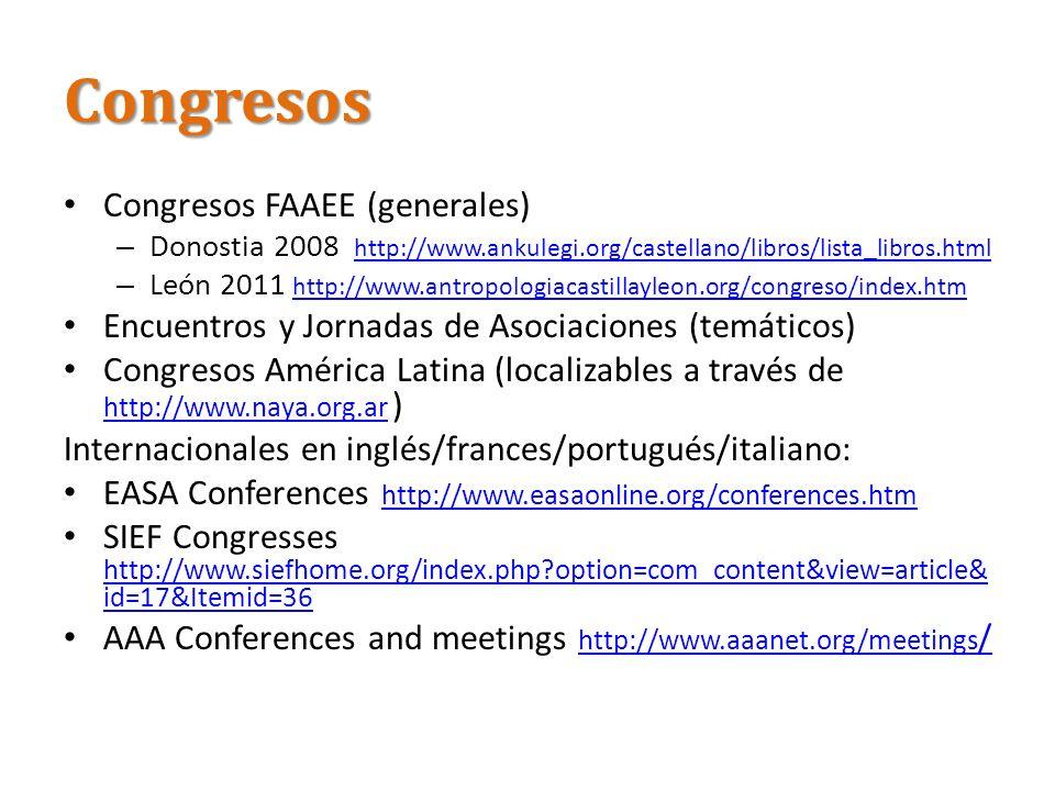 Congresos Congresos FAAEE (generales) – Donostia 2008 http://www.ankulegi.org/castellano/libros/lista_libros.html http://www.ankulegi.org/castellano/l