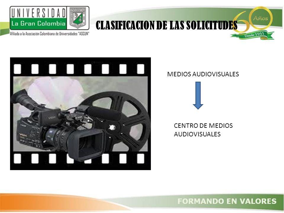 CLASIFICACION DE LAS SOLICITUDES MEDIOS AUDIOVISUALES CENTRO DE MEDIOS AUDIOVISUALES