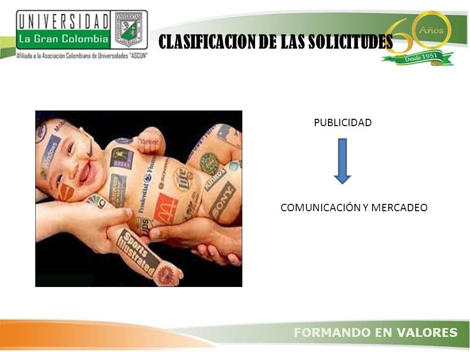PUBLICIDAD COMUNICACIÓN Y MERCADEO CLASIFICACION DE LAS SOLICITUDES