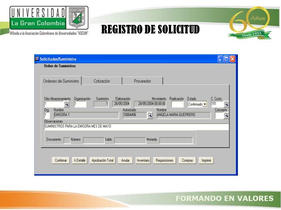 REGISTRO DE SOLICITUD