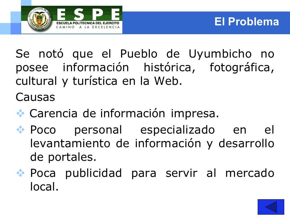 El Problema Se notó que el Pueblo de Uyumbicho no posee información histórica, fotográfica, cultural y turística en la Web. Causas Carencia de informa