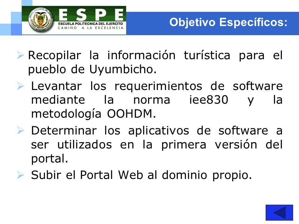 Objetivo Específicos: Recopilar la información turística para el pueblo de Uyumbicho. Levantar los requerimientos de software mediante la norma iee830