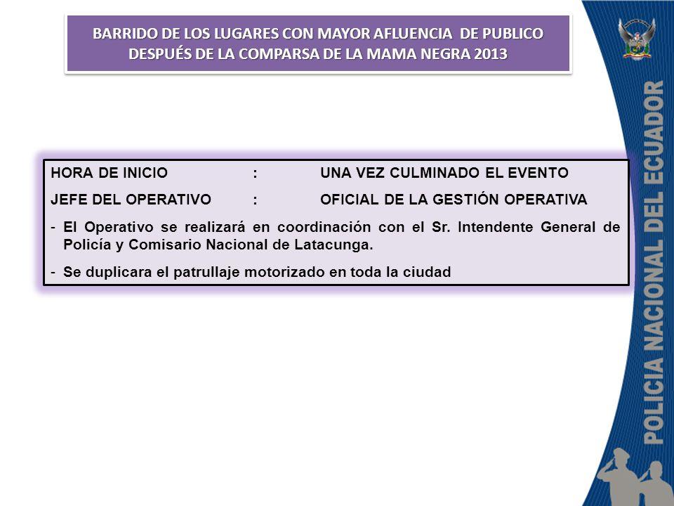 BARRIDO DE LOS LUGARES CON MAYOR AFLUENCIA DE PUBLICO DESPUÉS DE LA COMPARSA DE LA MAMA NEGRA 2013 HORA DE INICIO:UNA VEZ CULMINADO EL EVENTO JEFE DEL