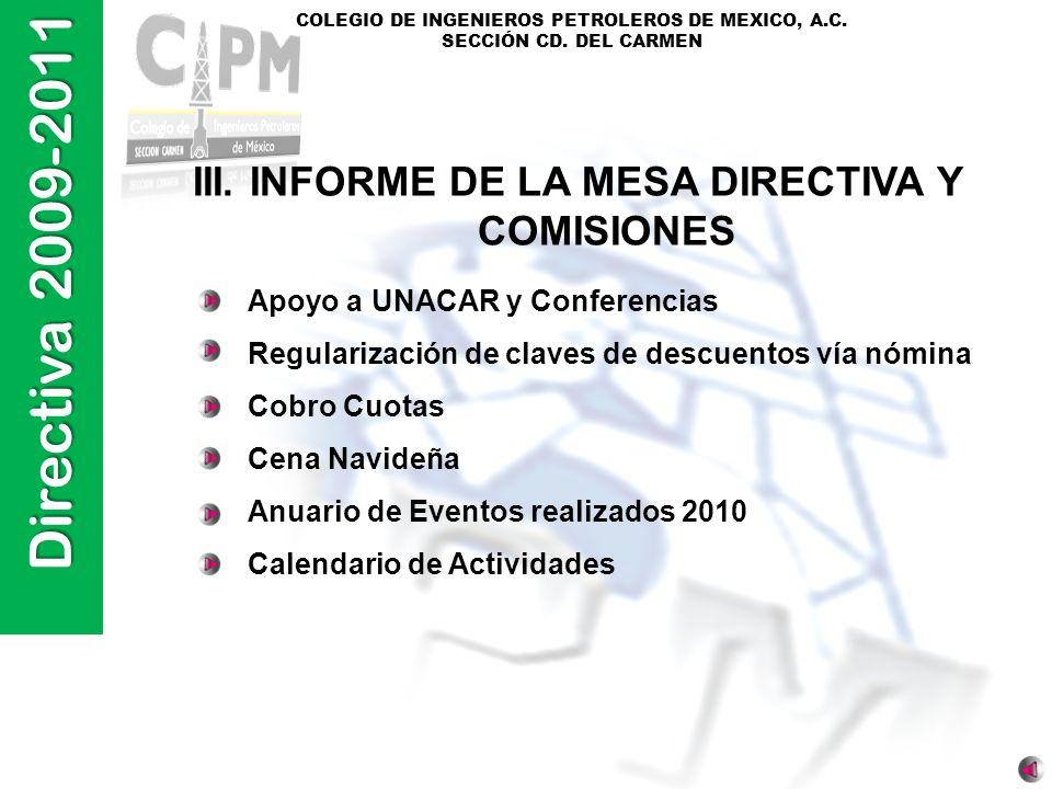 Directiva 2009-2011 COLEGIO DE INGENIEROS PETROLEROS DE MEXICO, A.C. SECCIÓN CD. DEL CARMEN III. INFORME DE LA MESA DIRECTIVA Y COMISIONES Apoyo a UNA