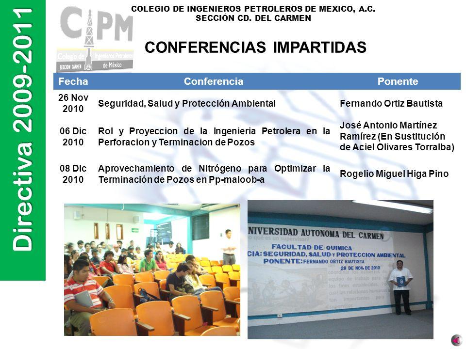 Directiva 2009-2011 COLEGIO DE INGENIEROS PETROLEROS DE MEXICO, A.C. SECCIÓN CD. DEL CARMEN FechaConferenciaPonente 26 Nov 2010 Seguridad, Salud y Pro