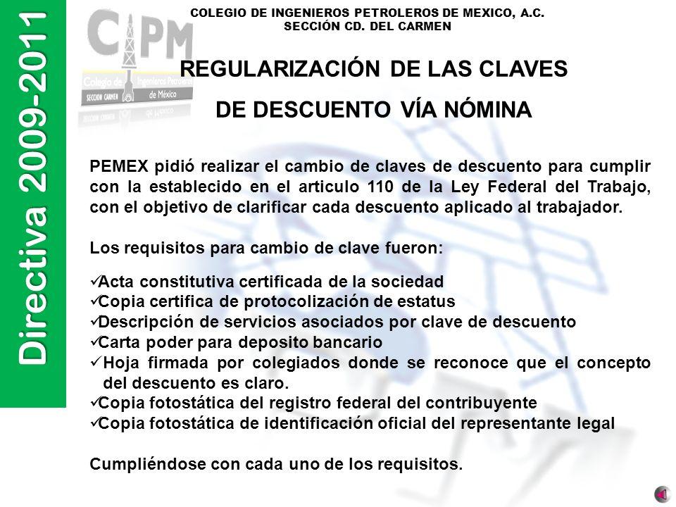 Directiva 2009-2011 COLEGIO DE INGENIEROS PETROLEROS DE MEXICO, A.C. SECCIÓN CD. DEL CARMEN REGULARIZACIÓN DE LAS CLAVES DE DESCUENTO VÍA NÓMINA PEMEX