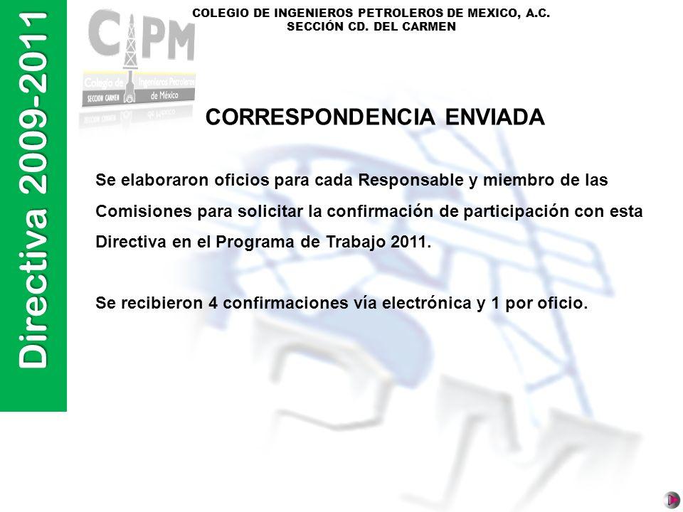 Directiva 2009-2011 COLEGIO DE INGENIEROS PETROLEROS DE MEXICO, A.C. SECCIÓN CD. DEL CARMEN Se elaboraron oficios para cada Responsable y miembro de l
