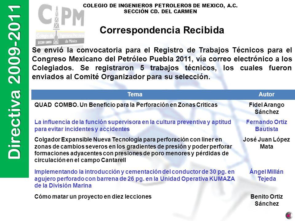Directiva 2009-2011 COLEGIO DE INGENIEROS PETROLEROS DE MEXICO, A.C. SECCIÓN CD. DEL CARMEN Correspondencia Recibida Se envió la convocatoria para el