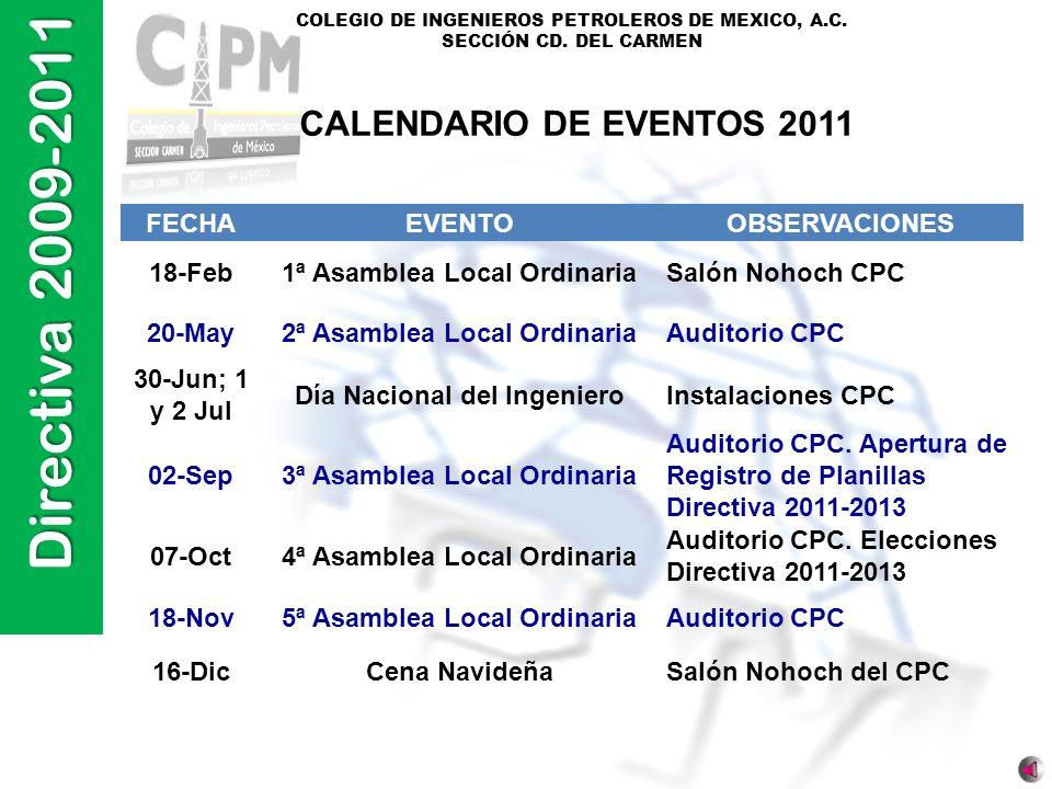 Directiva 2009-2011 COLEGIO DE INGENIEROS PETROLEROS DE MEXICO, A.C. SECCIÓN CD. DEL CARMEN FECHAEVENTOOBSERVACIONES 18-Feb1ª Asamblea Local Ordinaria