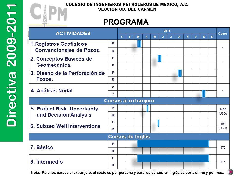 Directiva 2009-2011 COLEGIO DE INGENIEROS PETROLEROS DE MEXICO, A.C. SECCIÓN CD. DEL CARMEN PROGRAMA ACTIVIDADES 2011 Costo EFMAMJJAS0ND 1.Registros G