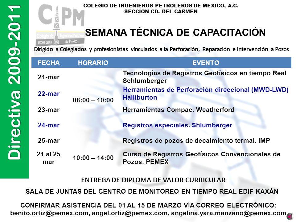 Directiva 2009-2011 COLEGIO DE INGENIEROS PETROLEROS DE MEXICO, A.C. SECCIÓN CD. DEL CARMEN Dirigido a Colegiados y profesionistas vinculados a la Per