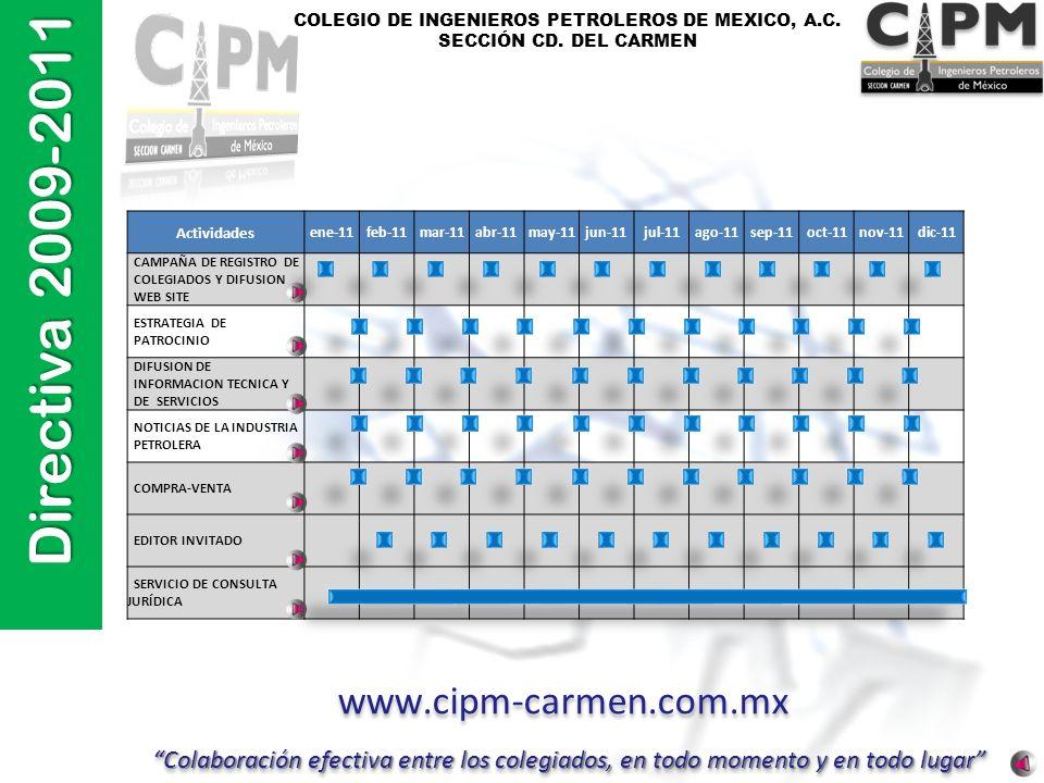 COLEGIO DE INGENIEROS PETROLEROS DE MEXICO, A.C. SECCIÓN CD. DEL CARMEN Actividades ene-11feb-11mar-11abr-11may-11jun-11jul-11ago-11sep-11oct-11nov-11