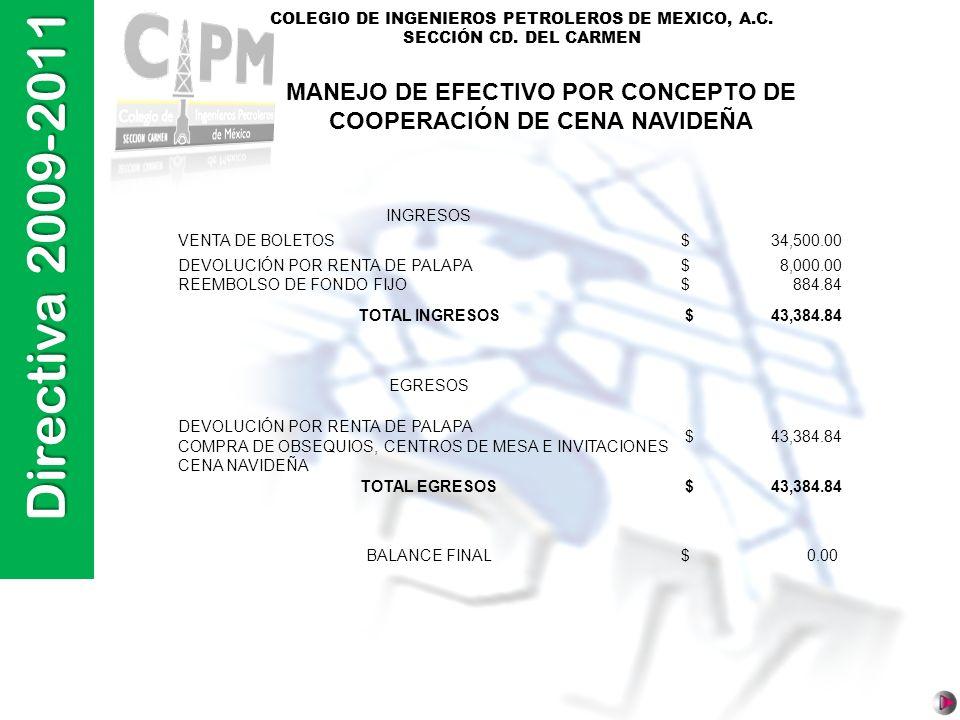 Directiva 2009-2011 COLEGIO DE INGENIEROS PETROLEROS DE MEXICO, A.C. SECCIÓN CD. DEL CARMEN INGRESOS VENTA DE BOLETOS$ 34,500.00 DEVOLUCIÓN POR RENTA