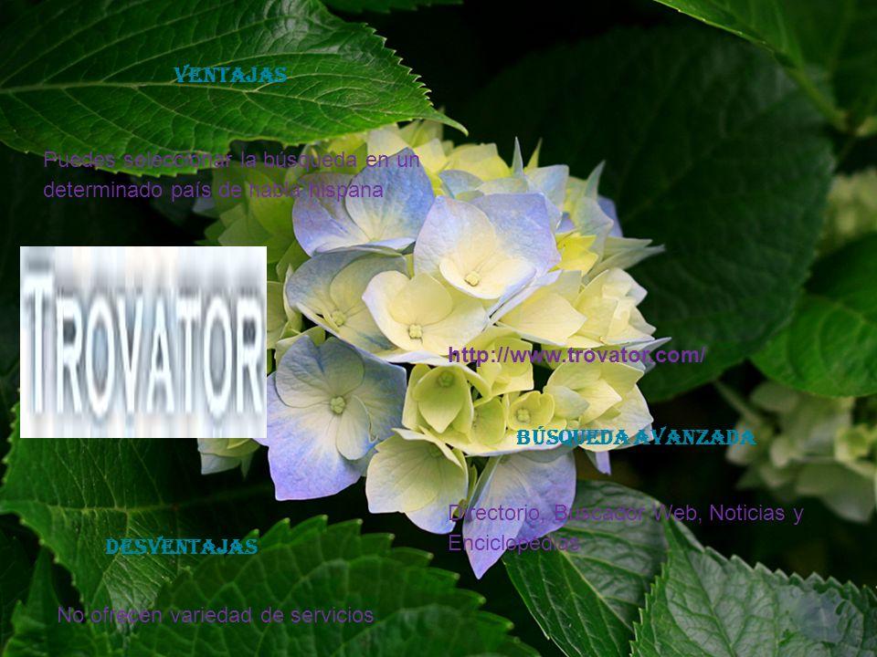 http://www.trovator.com/ Puedes seleccionar la búsqueda en un determinado país de habla hispana No ofrecen variedad de servicios Directorio, Buscador Web, Noticias y Enciclopedias VENTAJAS DESVENTAJAS Búsqueda avanzada