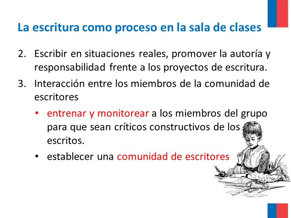 La escritura como proceso en la sala de clases 2.Escribir en situaciones reales, promover la autoría y responsabilidad frente a los proyectos de escri