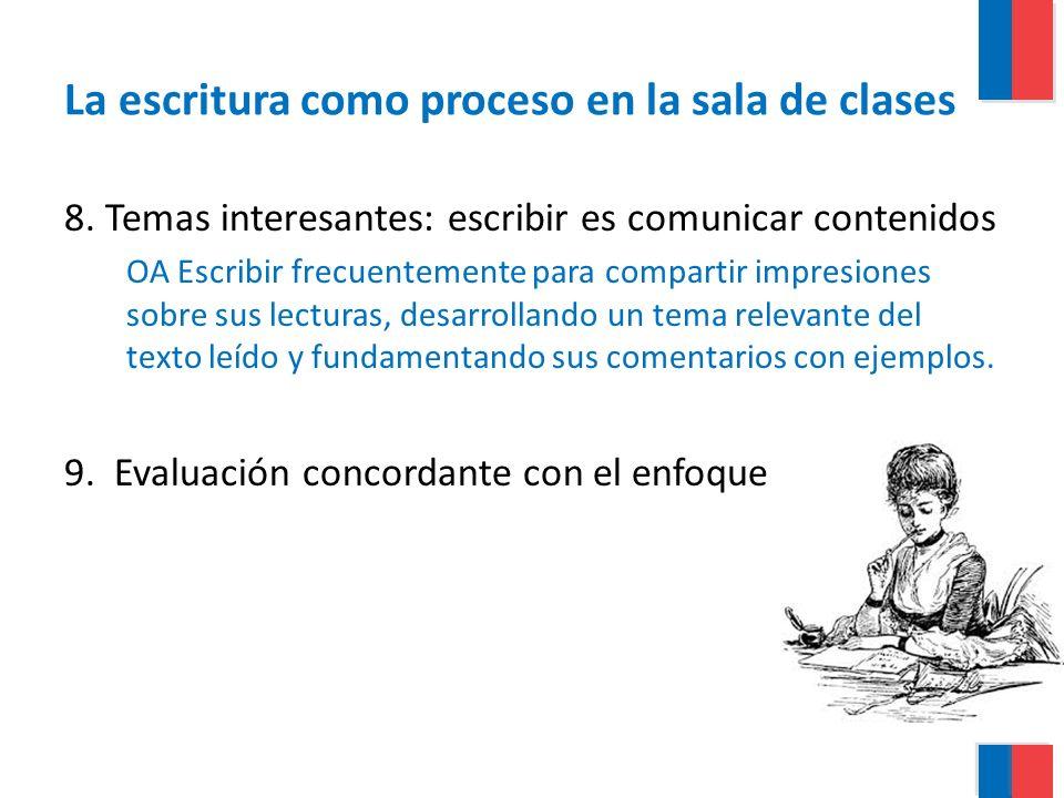 La escritura como proceso en la sala de clases 8. Temas interesantes: escribir es comunicar contenidos OA Escribir frecuentemente para compartir impre
