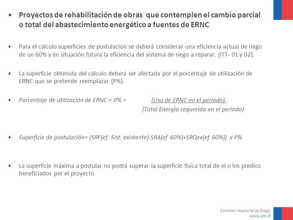 Comisión Nacional de Riego www.cnr.cl Proyectos de rehabilitación de obras que contemplen el cambio parcial o total del abastecimiento energético a fu