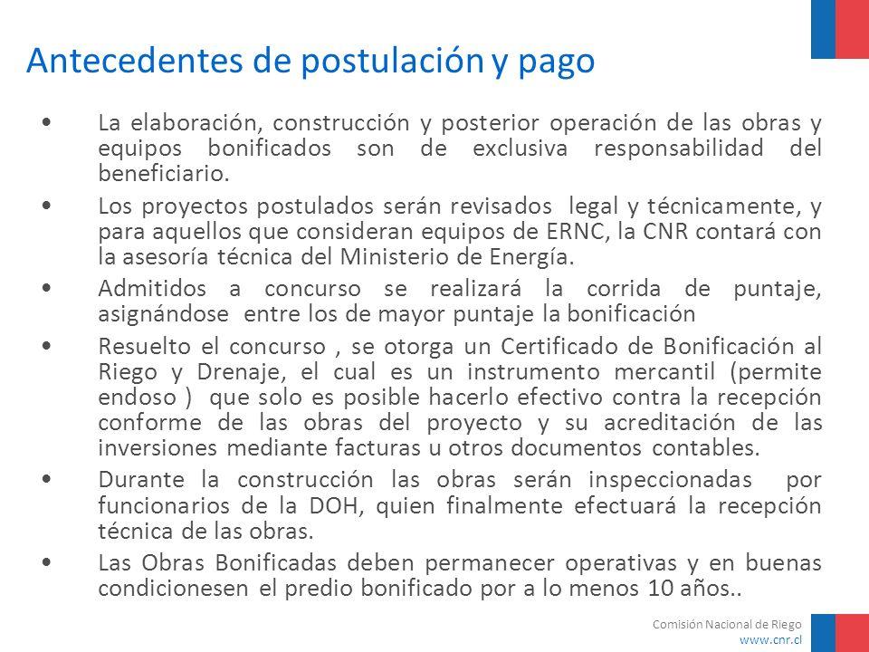 Comisión Nacional de Riego www.cnr.cl Antecedentes de postulación y pago La elaboración, construcción y posterior operación de las obras y equipos bon