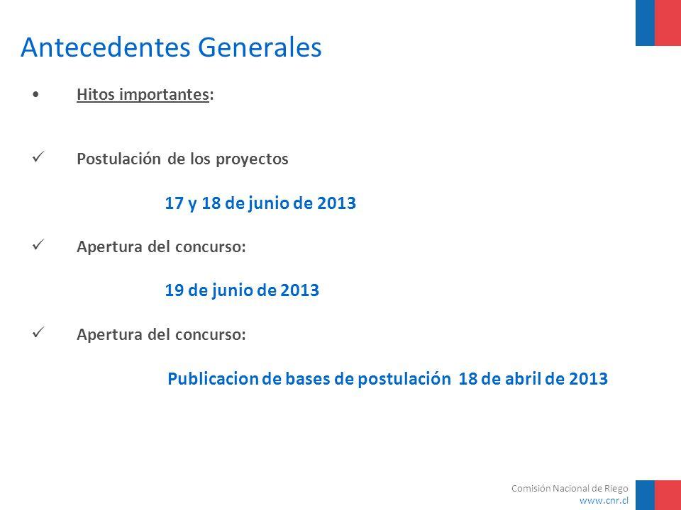 Comisión Nacional de Riego www.cnr.cl Antecedentes Generales Hitos importantes: Postulación de los proyectos 17 y 18 de junio de 2013 Apertura del con