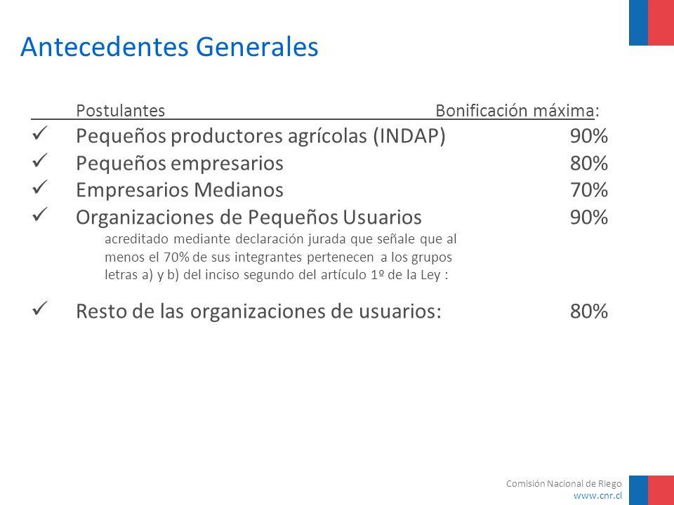 Comisión Nacional de Riego www.cnr.cl Antecedentes Generales Postulantes Bonificación máxima: Pequeños productores agrícolas (INDAP) 90% Pequeños empr