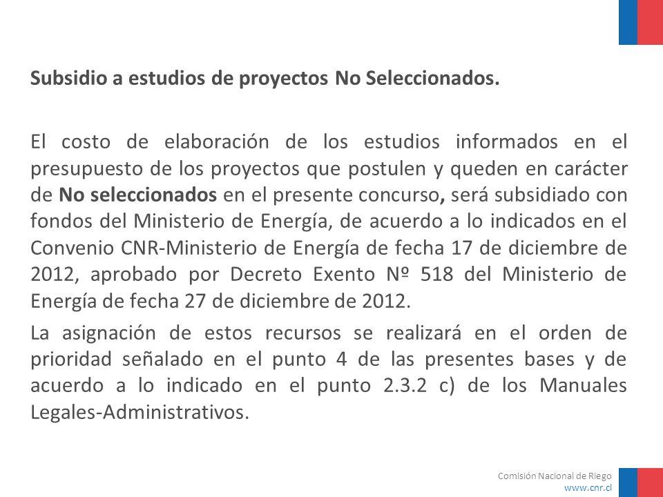 Comisión Nacional de Riego www.cnr.cl Subsidio a estudios de proyectos No Seleccionados. El costo de elaboración de los estudios informados en el pres