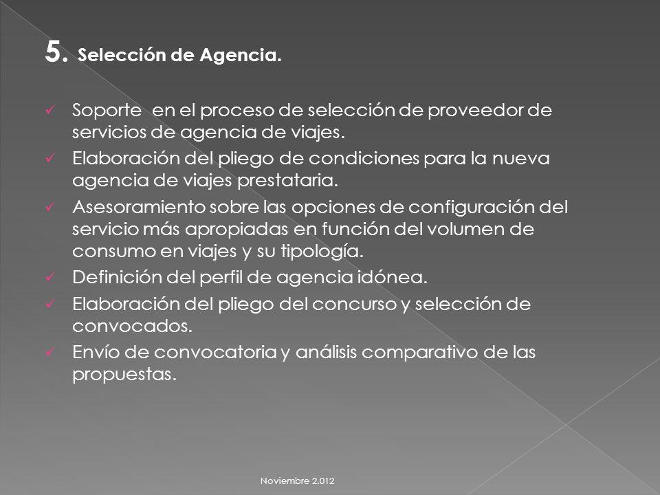5. Selección de Agencia.
