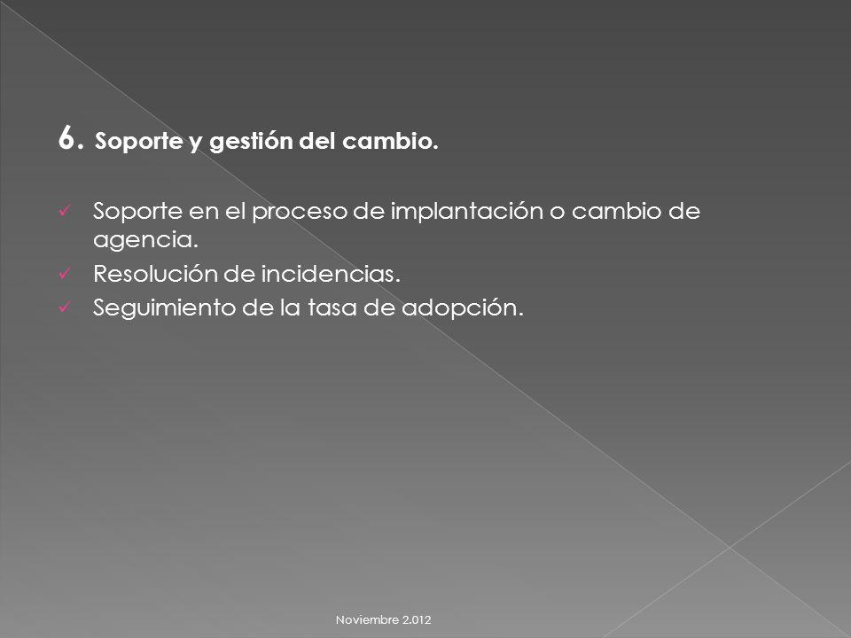 6. Soporte y gestión del cambio. Soporte en el proceso de implantación o cambio de agencia.