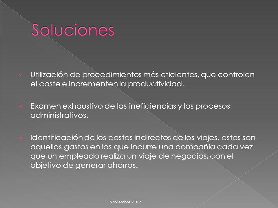 Utilización de procedimientos más eficientes, que controlen el coste e incrementen la productividad.